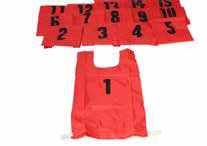 Nylon Numbered Bibs - red/yellow, set of 10-0
