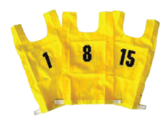 Nylon Numbered Bibs - red/yellow, set of 15-0